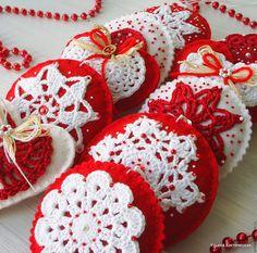 """Купить Набор елочных украшений """"Новый Год в зимней деревушке"""" - ярко-красный, новогодний подарок"""