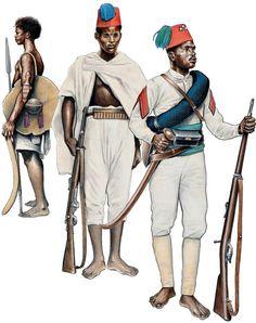ASCARI,1895-96 1:Hebab irregullar.2:Ascaro,2nd Eritrean Bn 'Hidalgo'.3:Sciumbasi,6th Eritrean Bn 'Cossu'.