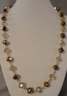 Vintage Long Tan Copper AB Aurora Borealis Crystal Glass Bead Necklace  | eBay/Toni's Vintage Treasures