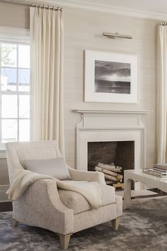 Shingled Colonial Home Interior Design Project Living Room Wallpaper Neutral, Accent Walls In Living Room, Living Room Grey, Living Room Interior, Home And Living, Country Modern Home, Bedroom With Sitting Area, Baker Furniture, Furniture Design