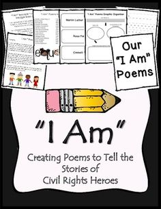 """BV- This worksheet is for students to create an """"I am"""" poem. They would begin by writing one about themselves, then write one as if they were a civil rights movement hero."""