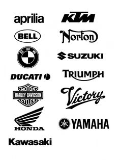 Vector Brands known manufacturers for Internet Stores selling Moto.  Brands:  Aprilla, KTM, Bell, Norton, BMW, Suzuki, Ducati, Triumph,  Harley-Davidson, Victory, Honda, Yamaha, Kawasaki  In the zip-archive set includes 3 Brands vector file:  1) .ai - Adobe Reader  2) .pdf - Adobe Illustrator  3) .svg to see in your Internet browser (Firefox 3.6+, Chrome 7+, Internet Explorer 9+, Opera 9+)