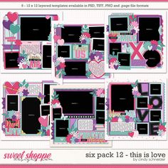 Cindy's Layered Templates - Six Pack This is Love by Cindy Schneider Photo Drop, Valentines Day Photos, Scrapbook Templates, This Is Love, Six Packs, Layout Template, Page Layout, Digital Scrapbooking, First Love