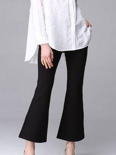 Solid Color Pockets Flared Pants