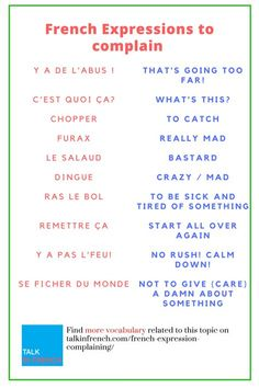 Crash course in french for the holidays gathe pinterest expressions to use when complaining in french spiritdancerdesigns Gallery
