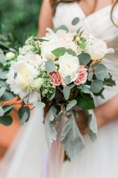 Garden-style wedding bouquet - white + pink bouquet with roses, peonies and eucalyptus {Erin Wilson Photography}