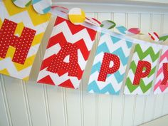 Chevron Fabric Birthday Banner Red, Aqua, Yellow, Pink, and Lime Green  for boys and girls. $45.00, via Etsy.