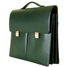 MAN GIFT! Pristine Louis Vuitton 'Tobol' Attache Case in green Taiga Leather