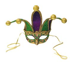 Mardi Gras Jester Mask Purple, Green, Gold (Jester points can be shaped) Mask Face Paint, Usa Costume, Jester Mask, Funny Boxer, Old World Christmas, Trendy Tree, Glass Christmas Ornaments, Mardi Gras, St Patricks Day
