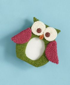 Yarn-Wrapped Owl Picture Frame- what a cute way to use scrap yarn! Comes with a free template. | AllFreeKidsCrafts.com
