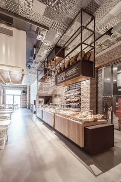 Gallery of Markthalle Panzerhalle / smartvoll - 1 - Architecture - Bakery Shop Design, Coffee Shop Design, Cafe Design, Design Design, Design Ideas, Cafe Bar, Bakery Cafe, Bakery Interior, Restaurant Interior Design