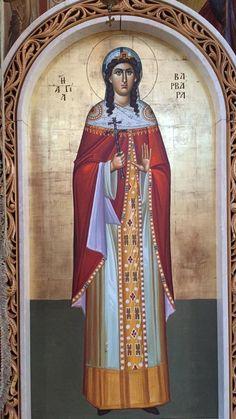Αγία Βαρβάρα / Saint Barbara Saint Barbara, Byzantine Icons, Orthodox Christianity, Orthodox Icons, Christian Art, Religious Art, Art Lessons, Cathedral, Saints