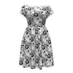 Colette Patterns Moneta Dress made with Spoonflower designs on Sprout Patterns.  Maria . Black and white abstract pattern .# black #white #abstraction #textiles