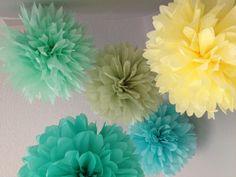 Caribbean Rhapsody - 5 Tissue Poms Destination Wedding DIY Decoration Kit - Tropical Blues and Greens. $15.00, via Etsy.