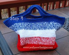 Big Striped Bag Crochet Pattern     This bag measures 12 x12 x 18     Large enough to carry 2 Chihuahuas!   or your shopping at the farmers...