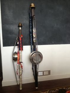 Rend's homemade instruments? Stomp Fiddle and a Jingling Johnny  this is Pelican Dog material