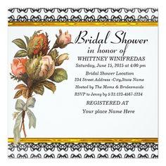 Tastefully Bridal Shower Black Flower Invites