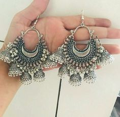 Silver jewelry Outfit Ideas - - 925 Silver jewelry Swarovski Crystals - - Antique Silver jewelry Indian - Silver jewelry Hand Made Design Indian Jewelry Earrings, Silver Jewellery Indian, Jewelry Design Earrings, Ear Jewelry, Gold Jewellery, Silver Earrings, Jewelery, Heavy Earrings, Silver Necklaces