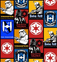 Glowing Lightsabers Darth Vader Glow in the Dark Cotton Fabric Fat Quarter