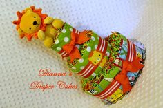 Baby Diaper Cake Zoo Animals Shower Gift or Centerpiece, Choose a Lion, Monkey or Elephant by Diannasdiapercakes