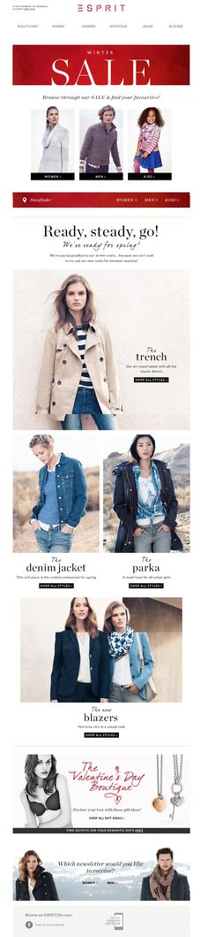 #newsletter Esprit 01.2014 Jackets & coats for the new season || Winter SALE for everyone!