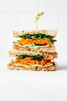 This vegan miso tahini vegetable sandwich is so hearty, healthy, and satisfying! It's packed with veggies and salty sweet miso tahini sauce.