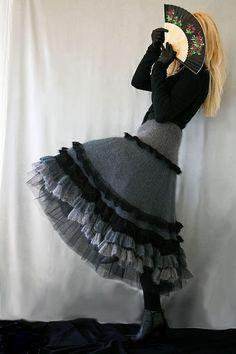 """Купить """"Зимняя Ниагара"""" - вязаная юбка, зимняя юбка, мохер, шелк, авторская работа"""