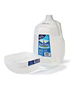 "Convenient travel water bowl for pets. To make a handy lightweight bowl, cut off the bottom third of an empty gallon jug. Take another empty gallon jug and fill it with water. The ""bowl"" will fit snugly over the bottom of the water jug, which makes it convenient to bring both the water and the bowl on a hunt."
