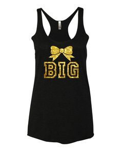Big and Little Sorority Bow Tanks with Glitter Print Super Soft fabric laundered, 4.2 oz., 50/25/25 polyester/combed ringspun cotton/rayon Sizing: XS S M L XL Body Length 26 27 28 28 29 Body Width 15