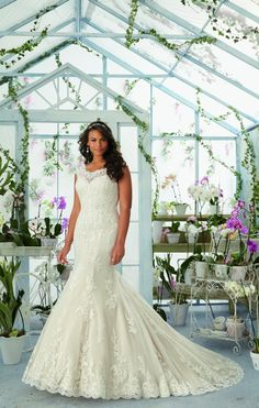 Julietta - Alencon Lace Appliques and Scalloped Edging Frosted with Beading on the Net Gown Over Soft Satin