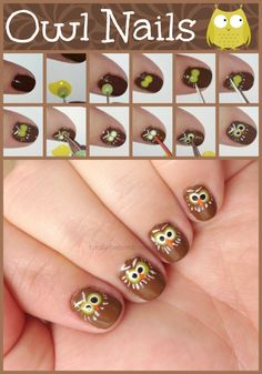 There are so many owl nails out there, but I wanted to try something a little different, so I went with these super cute little owls! How To Paint Owl Nails Start with a Brown NailArt Nail Art NailartDesigns Nail Art Designs is part of Owl nail art - Owl Nail Art, Owl Nails, Animal Nail Art, Nail Polish Art, Minion Nails, Cute Nails, Pretty Nails, Thanksgiving Nail Art, Halloween Nail Art