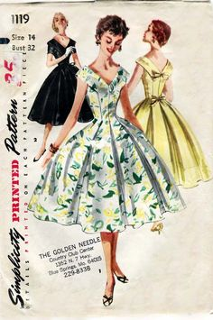 1950s Dress Pattern Simplicity 1119 Vintage 1950s Party Dress with Billowy Full Skirt