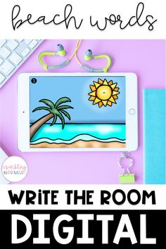 An easy, engaging kindergarten digital learning activity! Beach themed write the room does not have to be classroom based, it can be done using Google Slides or Google Classroom! #kindergarten #kindergartendigitallearning