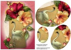 Hibiscus Flowers Swan Reflection Oval Pyramid