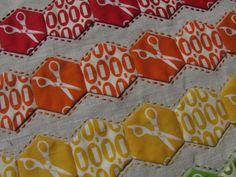 Hexagon chevron mini quilt by quityourstitchin, via Flickr