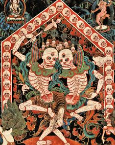 Lord and Lady of the Cemetery (Citipati), late century, Nechung Chapel. Tibet Photograph by Thomas Laird from Tibetan Murals (Taschen) 8bit Art, Tibetan Art, Tibetan Buddhism, Tibetan Tattoo, Susanoo, Thai Art, Art Brut, Hindu Art, Buddhist Art