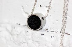 Custom Made Circle Pendant / Necklace - Stainless Steel And Black Tinted Concrete With Crushed Glass