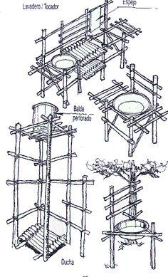 Artefactos de campamento construcciones pinterest for Muebles bambu pdf