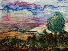 "Created with fabrics, fibres, threads, beading, free motion stitching and water soluble stabilizer. ""Sunrise"""