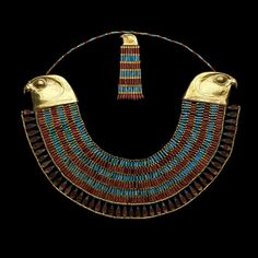 Falcon collar of Princess Neferuptah. Made of gold, carnelian and feldspar.  Dated from the twelfth dynasty of Egypt, reign of Amenemhat III, 1831-1786 BCE. (The Egyptian Museum, Cairo.)