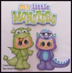 Monster Set Premade papel Piecing adorno para páginas de