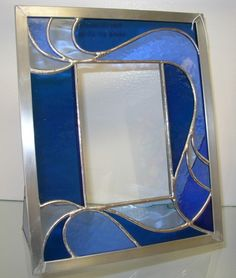 Handmade Stained Glass Picture Frame br br Translucent Navy Blue Medium Blue and Pale Blue Glass br Zinc frame br Picture Frame is approx w x h br Clear smooth