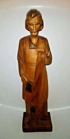 "VTG Anri Saint Joseph Wood Carving Statue Figurine 12"" Italy Hand Carved Estate"