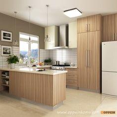 OP16-M01: Modern Wood Grain Matte Melamine and HPL Kitchen Cabinet