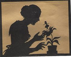 This is a black-and-gold silhouette illustration of Thumbelina by Lotte Reiniger, from The Illustrated London News, Christmas Number 1959. B...