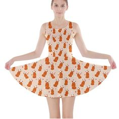 Orange Fox Pattern Print Skater Dress NWOT NEW XS This is a fox print or patterned skater dress from the brand cowcow. It is an extra small. I accidentally purchased two of them, as you can see in the last photo. I wore one and it fit perfectly, however have no use for this extra dress. It has never been worn and is new with out tags. It has a tank style top w/ a skater skirt bottom. It's made of a soft, stretchy,  lightweight and quick dry fabric. It's machine washable and is 90% polyester…