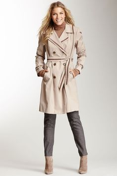 Faux Leather Trim Trench Coat by Vince Camuto on @HauteLook