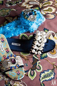 A little embellishment won't hurt. Make these Miu Miu slides the stars of your ensemble.