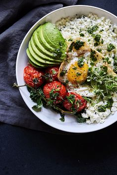 Savory Veggie Breakfast Bowls with Herb Olive Oil Drizzle {Paleo-friendly} /