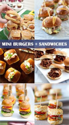 Delish Mini Burgers & Sandwiches for Parties Mini Burgers and Sandwiches for Parties, perfect for the Super Bowl!Mini Burgers and Sandwiches for Parties, perfect for the Super Bowl! Party Finger Foods, Snacks Für Party, Appetizers For Party, Appetizer Recipes, Sandwich Recipes, Mini Hamburgers, Mini Foods, High Tea, Delish